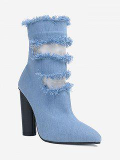 Pointed Toe Hollow Out Chunky Heel Boots - Blue 40