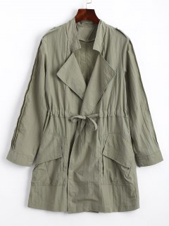 Ruffles Trim Belted Trench Coat - Army Green M