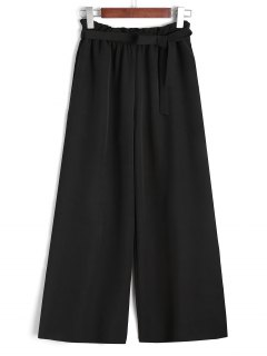 Ninth Belted Ruffled Wide Leg Pants - Black M