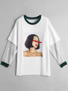 Graphic Lace Panel T-shirt - White