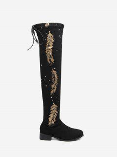 Round Toe Print Chunky Heel Thigh High Boots - Black 39