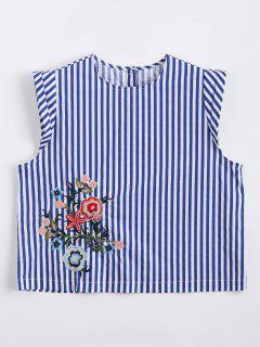 Cropped Floral Embroidered Stripes Tank Top - Stripe M