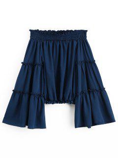 Ruffles Flare Sleeve Off Shoulder Blouse - Purplish Blue L