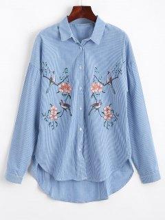 Chemise Basse à Rayures Florales D'oiseaux - Rayure S