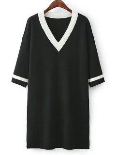 Vestido Tejido A Rayas Con Abertura Lateral - Negro
