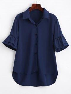 Half Buttoned Ruffled Sleeve Shirt - Purplish Blue M