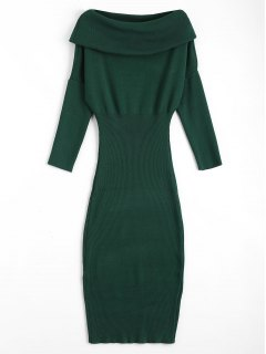 Overlap Off Shoulder Sweater Bodycon Dress - Green