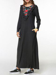 Frilled Flower Embroidered Maxi Dress - Black M