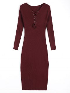 Long Sleeve Lace Up Sweater Bodycon Dress - Wine Red