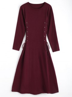 Long Sleeve Lace Up Sweater Midi Dresss - Wine Red