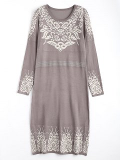 Rhinestoned Jacquard Sweater Midi Dress - Smashing