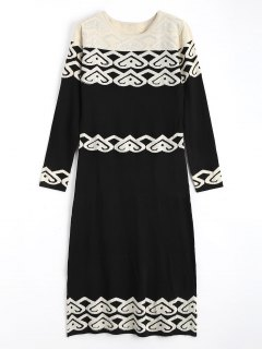 Jacquard Long Sleeve Rhinestoned Sweater Dress - Black