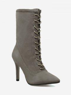 Stiletto Pointed Toe Lace Up Boots - Kaki 36