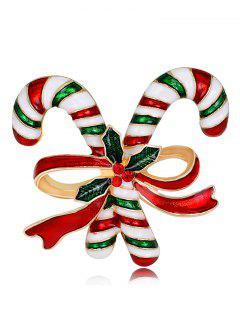 Christmas Rhinestone Candy Cane Tiny Brooch - Red