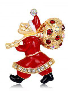 Rhinestone Christmas Gift Santa Brooch - Red