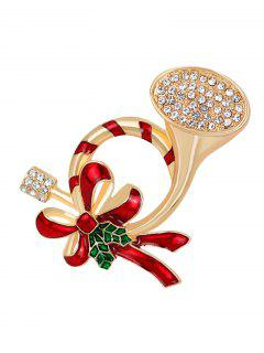 Rhinestoned Christmas Bows Brooch - Red