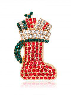 Rhinestoned Christmas Shoe Tiny Brooch - Red