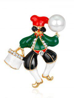Faux Pearl Rhinestone Christmas Clown Brooch - Green