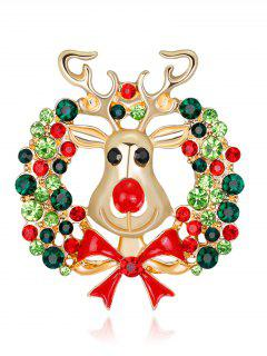 Rhinestone Christmas Deer Wreath Brooch - Green