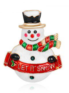 Let It Snow Snowman Brooch - Red