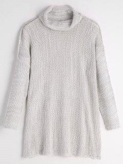 Turtleneck Drop Shoulder Tunic Sweater - White Grey S