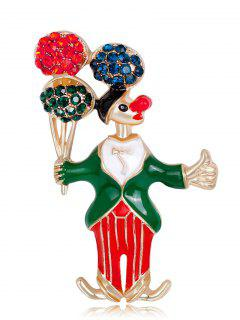 Rhinestone Clown Take The Balloon Brooch - Green