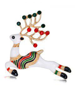Rhinestoned Christmas Elk Brooch - White