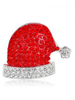 Rhinestone Christmas Hat Sparkly Brooch - Red