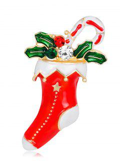 Rhinestone Christmas Stocking Leaf Gift Brooch - Red