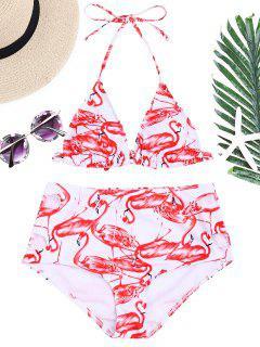 Flamingo Print High Waisted Bikini Set - Red With White M