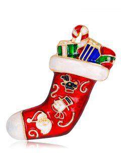 Full Gift Christmas Sock Brooch - Red