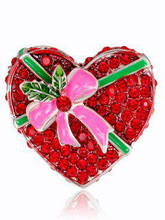 Heart Shape Gift Box Brooch - Red