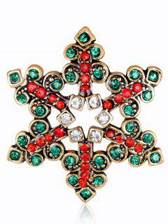 Hollow Out Rhinestone Snowflake Brooch - Green