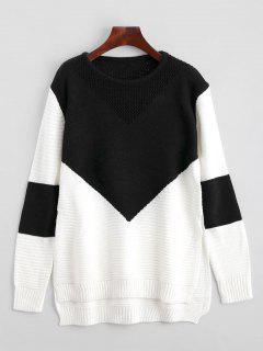 Geometric Contrasting High Low Sweater - Black