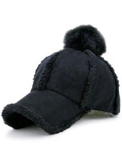 Faux Lambswool Panel Pom Baseball Hat - Black