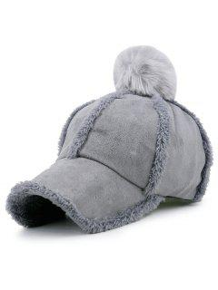 Faux Lambswool Panel Pom Baseball Hat - Gray