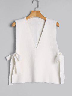 Vest Bowknot V Neck Sweater - White