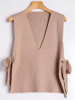 Vest Bowknot V Neck Sweater - Khaki
