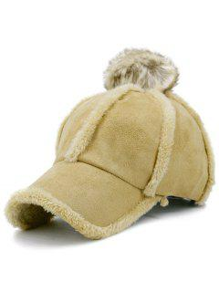Faux Lambswool Panel Pom Baseball Hat - Khaki
