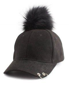 Hoop Ring Embellished Pom Baseball Hat - Black