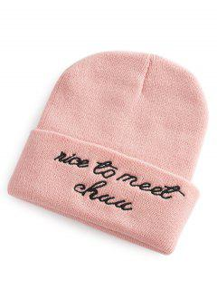 Letter Pattern Flanging Knit Hat - Papaya