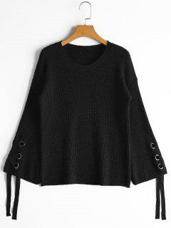 Flare Sleeve Lace Up Sweater - Black