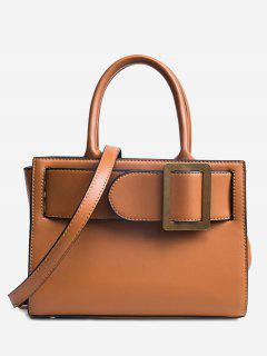 Buckle Strap Faux Leather Handbag - Brown