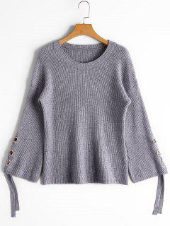 Flare Sleeve Lace Up Sweater - Gray