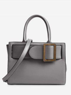 Buckle Strap Faux Leather Handbag - Gray