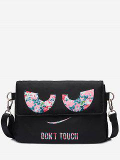 Headphone Hole Print Letter Crossbody Bag - Black