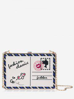 Box Postcard Chain Crossbody Bag - White