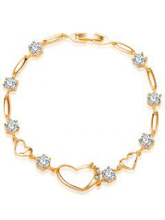 Rhinestone Hollow Heart Bracelet - White