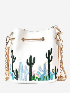 Embroidery Drawstring Chain Crossbody Bag - White