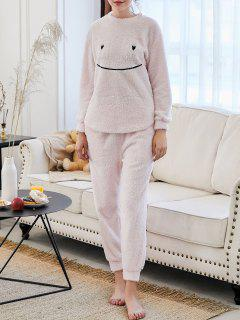 Flannel Smile Embroidered Loungewear Suit - Light Pink M